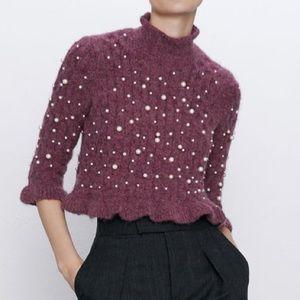 NEW Zara cable knit pearl alpaca crop sweater